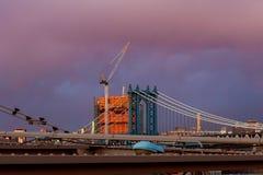 曼哈顿桥梁NewYork从布鲁克林美国的NY NYC 免版税图库摄影