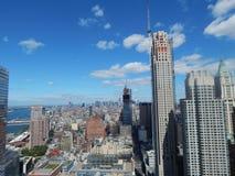 曼哈顿海岛、NYC、看起来的哈得逊河和的新泽西北部从建设中3世界贸易中心 库存图片