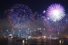 曼哈顿烟花显示 免版税图库摄影