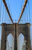 曼哈顿特写镜头的纽约布鲁克林大桥与摩天大楼 免版税库存照片