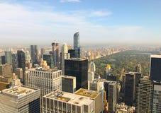 曼哈顿的部分的鸟瞰图在中央公园附近的 库存照片