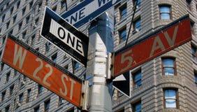 曼哈顿签署街道 免版税库存照片