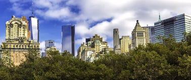 曼哈顿街市摩天大楼冠上在树上的全景 免版税库存照片
