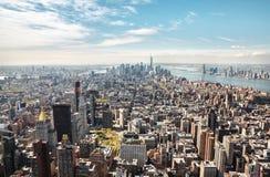 曼哈顿街道和屋顶  免版税图库摄影