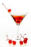 曼哈顿鸡尾酒装饰用樱桃 图库摄影
