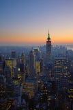 曼哈顿,纽约全景日落的 库存照片