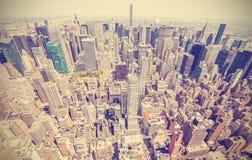 曼哈顿,纽约,美国减速火箭的风格化鸟瞰图  免版税库存照片