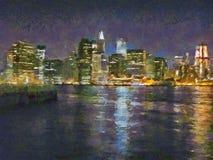 曼哈顿,纽约,美国被绘的夜视图  免版税库存图片
