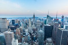 曼哈顿-从摇滚的洛克菲勒中心-纽约的上面的看法 库存图片
