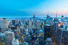 曼哈顿-从摇滚的洛克菲勒中心-纽约的上面的看法 免版税库存图片