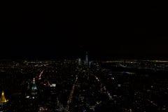 曼哈顿-纽约- Vue depuis l& x27; 帝国大厦de nuit 库存照片