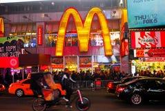 曼哈顿mcdonalds nyc正方形时间 库存图片