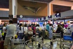 廊曼国际机场内部看法  库存照片