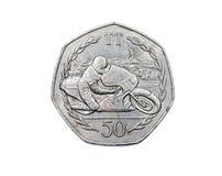 曼岛五十便士约会的硬币相反1983年 免版税库存图片