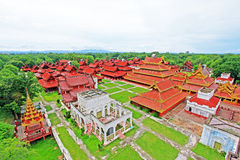 曼德勒王宫全景,曼德勒,缅甸 免版税图库摄影