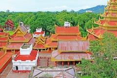 曼德勒王宫全景,曼德勒,缅甸 库存照片
