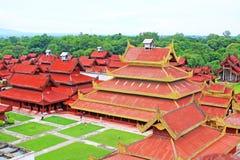 曼德勒王宫全景,曼德勒,缅甸 免版税库存图片