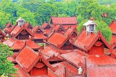 曼德勒王宫全景,曼德勒,缅甸 免版税库存照片