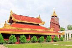 曼德勒王宫手表塔,曼德勒,缅甸 免版税库存图片