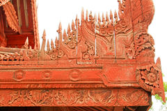 曼德勒被雕刻的王宫木头,曼德勒,缅甸 免版税库存图片