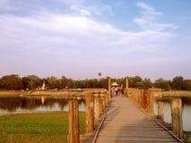曼德勒, U Bein桥梁 免版税库存图片