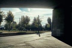 曼海姆德国地铁地铁草甸自然运输天空具体countryroad秋天 免版税库存图片