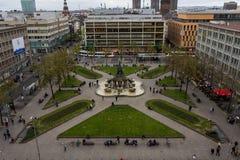曼海姆Paradeplatz空中透视在市中心 库存图片