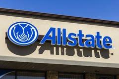 曼西-大约2017年3月:Allstate保险商标和标志III 库存图片