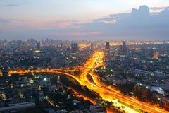 曼谷与Y路的市概要 免版税库存照片
