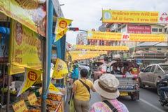曼谷中国镇街道食物素食主义者节日 免版税库存照片