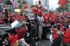 曼谷中央拒付红色衬衣 库存照片