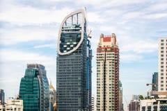 曼谷和泰国的摩天大楼大厦都市风景  事务风景和泰国的金融中心 E 免版税库存图片