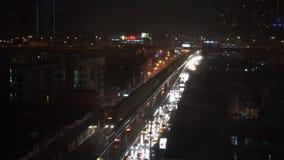 曼谷在大雨夜,曼谷9月2015年,泰国 股票录像