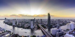 曼谷地平线都市风景在泰国 免版税库存照片