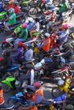 曼谷堵塞摩托车业务量 免版税库存图片