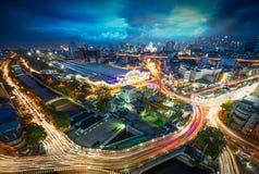 曼谷夜场面都市风景 库存照片