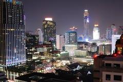 曼谷夜视图从Chitlom地区的 图库摄影