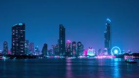 曼谷大气昭披耶河的在晚上 影视素材
