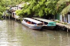 曼谷小船河 库存照片
