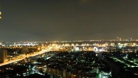 曼谷市夜光 库存照片