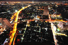 曼谷市夜空泰国视图 免版税库存图片