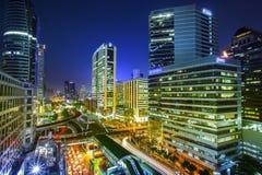 曼谷市晚上视图 免版税库存图片