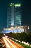 曼谷市横向晚上视图 库存图片