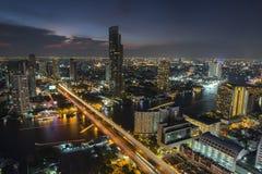 曼谷市4月5日:2015年4月5日的顶视图城市在曼谷 免版税图库摄影