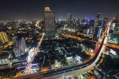 曼谷市4月5日:2015年4月5日的顶视图城市在曼谷 免版税库存照片