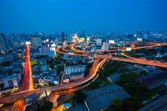 曼谷市Arial视图有主要交通和明确方式的在 免版税库存照片