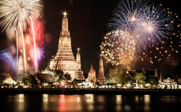 曼谷新年烟花 免版税库存图片