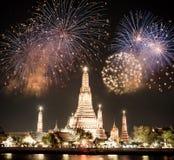 曼谷新年烟花 库存图片