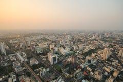 曼谷日落,曼谷市,曼谷泰国,日落 免版税库存图片