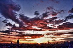 曼谷日落 库存照片